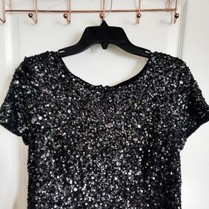 Black sequined tulle dress